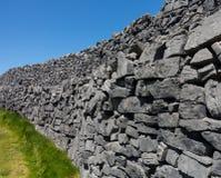Stone wall at Dun Aonghasa Aran Islands Royalty Free Stock Photography