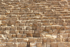 Stone wall of Egyptian pyramids in Giza, close up.  Stock Photo