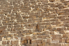 Stone wall of Egyptian pyramids in Giza, close up Royalty Free Stock Photos