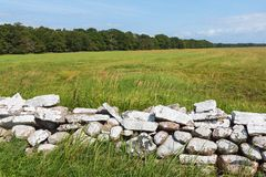 Stone wall on the field Royalty Free Stock Images