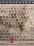 Stone wall with fire hydrant. Royalty Free Stock Photo
