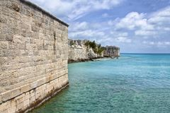 Stone wall of a fort by the sea in Bermuda Royalty Free Stock Photos