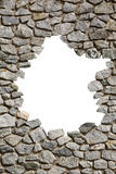 Stone wall frame with empty hole. PNG available Stock Photos