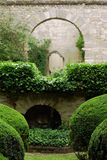 The stone wall in the garden Royalty Free Stock Photos