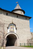 Stone wall and gate to the old fortress. Kremlin of Pskov Stock Photo