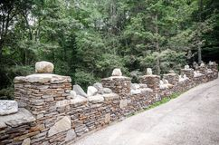 Stone wall in Gillette Castle State Park Stock Images