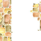 Stone wall Gold palette watercolor background Stock Photo