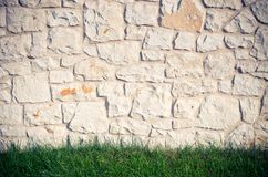 Stone wall and gras Stock Images