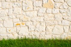 Stone wall and gras Stock Image
