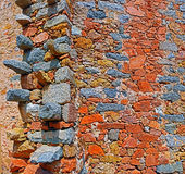 Stone Wall of Greek church in Corsican village Cargese Royalty Free Stock Images