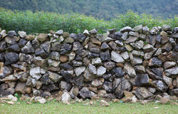 Stone wall on a hill Royalty Free Stock Images