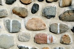 Stone wall house. Wall of the house is built of stones Stock Photo