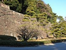 Stone Wall at the Imperial Palace Gardens, Tokyo, Japan Royalty Free Stock Photo