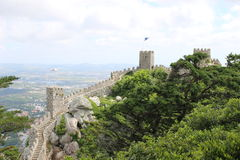 The stone wall of an impregnable Moorish fortress in Sintra Royalty Free Stock Photos