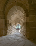 Stone wall and iron grid window, Alexandria Citadel Stock Images