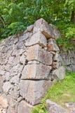 Stone wall ishigaki of Hiroshima Castle, Japan Stock Images