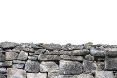 Stone wall isolated. On white background royalty free stock photos