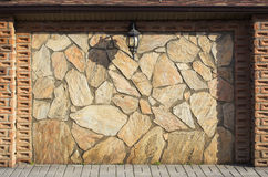 Stone wall with lantern Royalty Free Stock Image