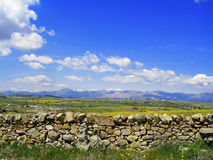Stone Wall in the Meadow Stock Images