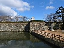 Stone Wall and Moat at Himeji Castle, Japan Royalty Free Stock Image