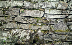 Stone wall with mossy and grass Royalty Free Stock Photos