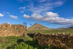 Stone wall and Mountain view La Oliva Fuerteventura Las Palmas Canary Islands Spain Stock Images
