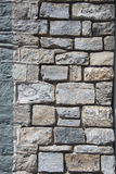 Stone wall. With multiple sized stones, partial grouting stock images