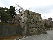 Stone Wall at Nijo Castle, Kyoto, Japan Royalty Free Stock Images