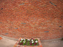 Stone wall of old red bricks with wide-shots distortion view Stock Photo