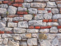 Stone wall. Old vintage decorative stone wall facade texture background Royalty Free Stock Photography