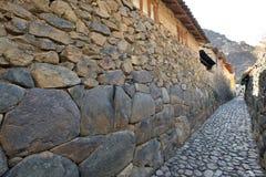 Stone wall in Ollantaytambo Stock Image
