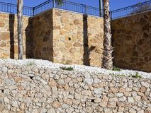 Stone wall and palm trunk textures Royalty Free Stock Image