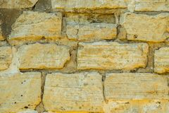 Stone wall pattern. Big concrete bricks outside. royalty free stock photography