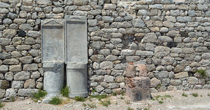Stone wall and pillars Stock Images
