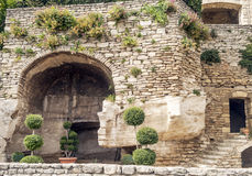 Stone wall. In the range of Gordes, with some little trees Royalty Free Stock Photos