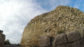 Stone wall ruins of the Greek town of Chersonese. RUSSIA, SEVASTOPOL, OCTOBER, 2016: Stone wall ruins of the Greek town of Hersonissos in Sevastopol, October stock video footage