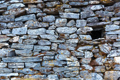 Stone Wall of rural Building made with manual work only Stock Photos