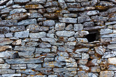 Stone Wall of rural Building made with manual work only Stock Image