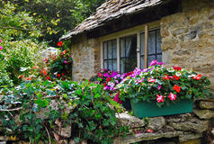 Stone wall of rural cottage in Cotswolds, England Stock Photos