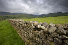 Stone wall through rural field Stock Images