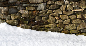 Stone wall in snow. Snow blown up against an old stone wall in the Berkshires, Massachusetts Royalty Free Stock Photo