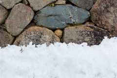 Stone wall with snow pile Stock Photography