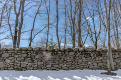 Stone wall in snow stock image