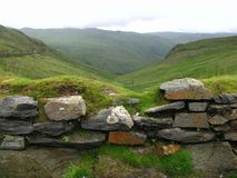 Stone wall on Snowdon mountain Royalty Free Stock Images