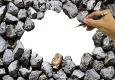 Stone wall and space in the center with hand and pencil Royalty Free Stock Image
