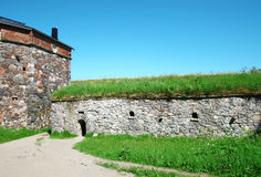 Stone Wall of Sveaborg Fortress. Stone Wall of Suomenlinna Sveaborg Fortress in Helsinki, Finland Royalty Free Stock Photo