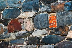 Stone wall texture background. Old rough outdoor rocks surface. Close-up natural pattern. royalty free stock photography