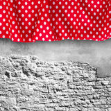 Stone wall texture with cloth. Royalty Free Stock Images