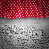 Stone wall texture with cloth. Stock Photo