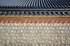 Stone wall and tile roof Korean traditional. Stock Images